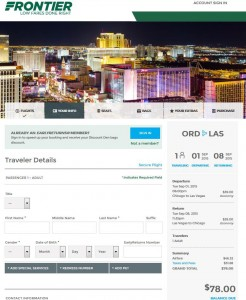 Chicago-Las Vegas: Frontier Booking Page