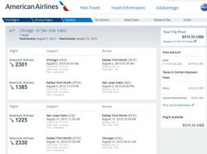 Chicago-Los Cabos: American Booking Page