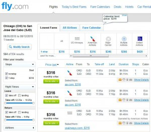 Chicago-Los Cabos: Fly.com Search Results
