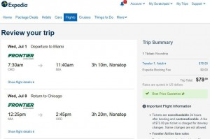 Chicago-Miami Expedia: Booking Page