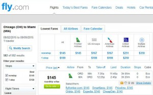 Chicago-Miami: Fly.com Search Results
