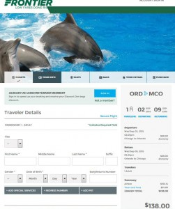 Chicago-Orlando: Frontier Booking Page