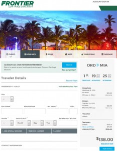 Chicago to Miami: Frontier Booking Page