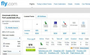 Cincinnati-Fort Lauderdale: Fly.com Search Results