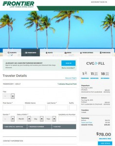 Cincinnati-Fort Lauderdale: Frontier Booking Page