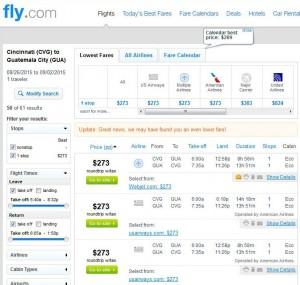 Cincinnati-Guatemala City: Fly.com Search Results