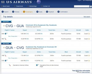 Cincinnati-Guatemala City: US Airways Booking Page