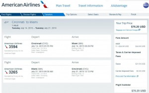 Cincinnati-Miami: American Booking Page