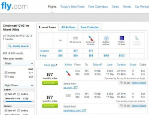 Cincinnati-Miami: Fly.com Search Results