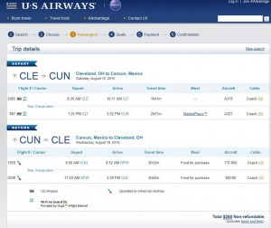 Cleveland-Cancun: US Airways Booking Page