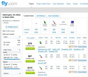 D.C. to Miami: Fly.com Results