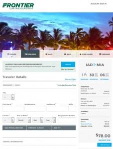 D.C. to Miami: Frontier Booking page