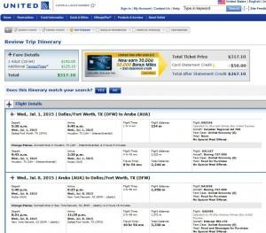 Dallas-Oranjestad, Aruba: United Booking Page