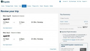 Dallas-Cancun: Expedia Booking Page