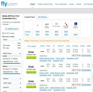 Dallas-Fort Lauderdale: Fly.com Search Results