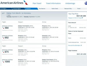 Dallas-Honolulu: American Booking Page