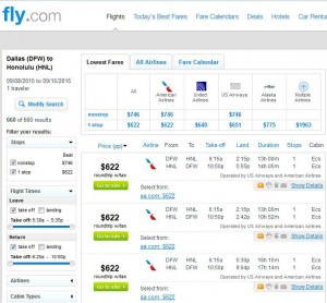 Dallas-Honolulu: Fly.com Search Results