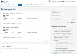 Dallas to New York City: Expedia Booking Page