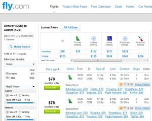 Denver to Austin: Fly.com Results
