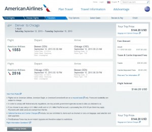 Denver to Chicago: AA Booking Page
