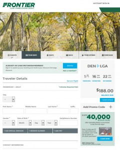 Denver to New York City: Frontier Booking Page