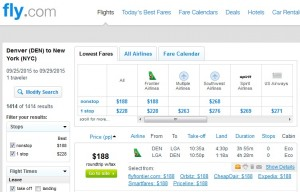 Denver to New York City: Fly.com Results