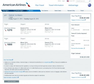Detroit to Miami: AA Booking Page