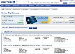 Houston-Boston: United Booking Page