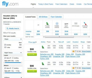 Houston-Denver: Fly.com Search Results