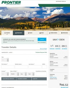 Houston-Denver: Frontier Booking Page