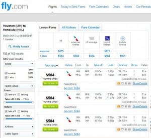 Houston-Honolulu: Fly.com Search Results