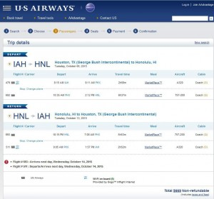 Houston-Honolulu: US Airways Booking Page