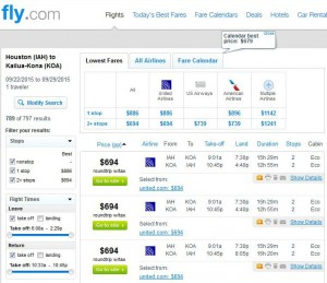 Houston-Kona: Fly.com Search Results