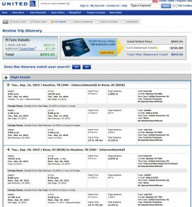 Houston-Kona: United Booking Page