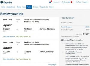 Houston-San Diego: Expedia Booking Page