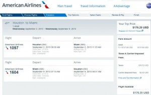 Houston-Miami: American Booking Page