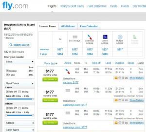 Houston-Miami: Fly.com Search Results