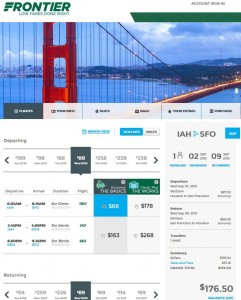 Houston-San Francisco: Frontier Booking Page