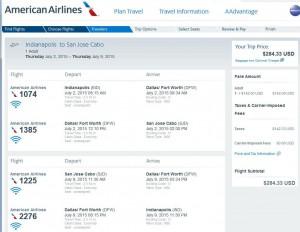 Indianapolis-Los Cabos: American Booking Page