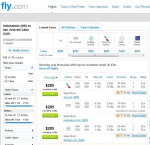 Indianapolis-Los Cabos: Fly.com Search Results