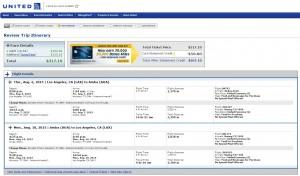 LA to Aruba: United Booking Page
