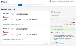 LA to San Francisco: Expedia Booking Page