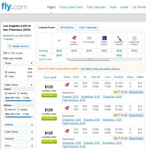 LA to San Francisco: Fly.com Results