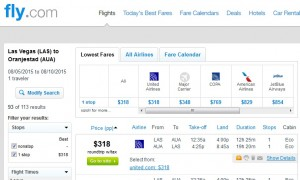 Las Vegas to Aruba: Fly.com Results
