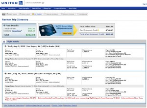 Las Vegas to Aruba: United Booking Page