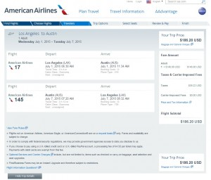 Los Angeles to Austin: AA Booking Page