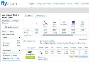 Los Angeles to Austin: Fly.com Results