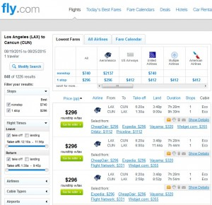 Los Angeles to Cancun: Fly.com Results