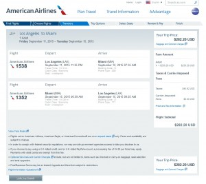 Los Angeles to Miami: AA Booking Page