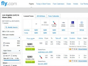 Los Angeles to Miami: Fly.com Results